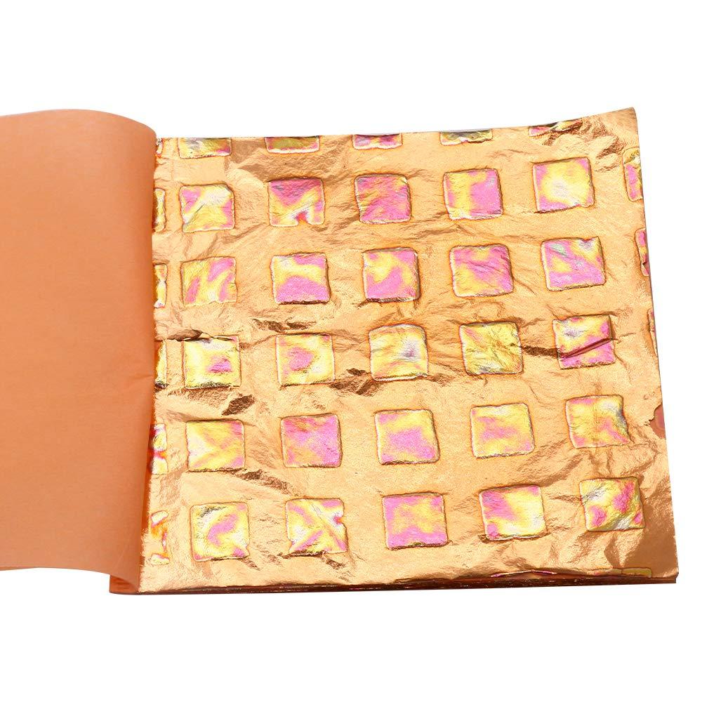 14x14cm 25 Sheets per Booklet Kinno Multipurpose Variegated Gold Leaf Sheets Multicolored Foil Variegated Type 2