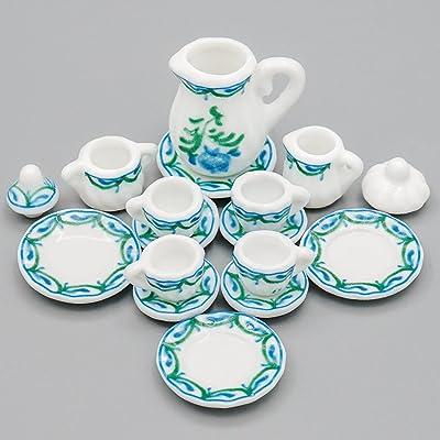 Odoria 1:12 Miniature 15PCS Porcelain Tea Cup Set Green Chintz Dollhouse Kitchen Accessories: Toys & Games