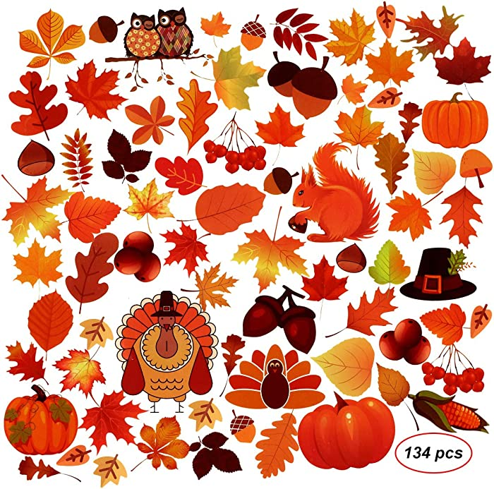 Bridget Bobby 134Pcs Thanksgiving Fall Leaves Window Clings,Autumn Maple Window Sticker Decorations For Thanksgiving,Harvest Party Decor (4 Sheets)