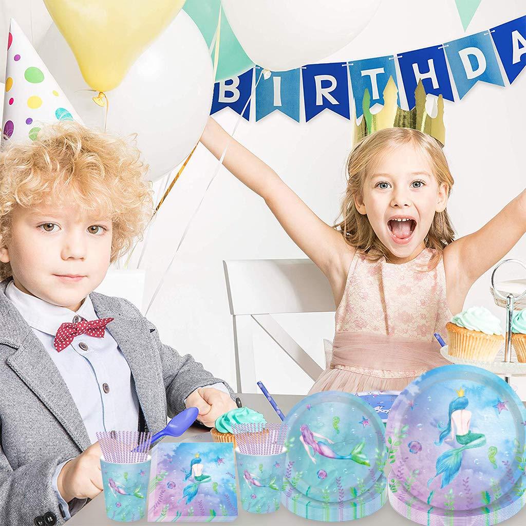 Amycute 8 Invitados Vajilla de Desechable Sirena Azul Morado Decoracion de Fiesta Sirena de Vasos Platos Servilletas Vajilla de cumplea/ños Infantil