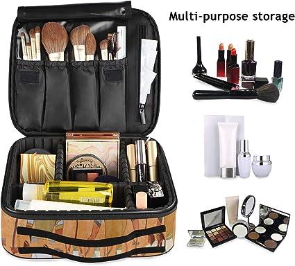 Mnsruu Antiguo Egipto Escena Maquillaje Cosmético Estuche Organizador Portátil Bolsa de Almacenamiento de Maquillaje de Viaje Estuche de Tren con Separadores Ajustables: Amazon.es: Belleza