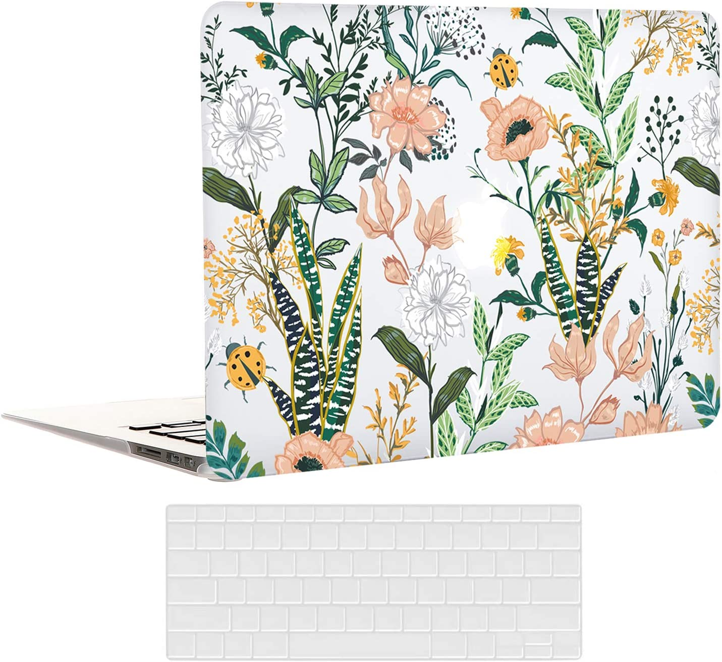 EkuaBot Floral Flower MacBook Pro 13 inch Case & Transparent Keyboard Cover(A2289/A2251, 2020 Release), Matt Clear Hard Shell Case Only Compatible Newest MacBook Pro 13.3