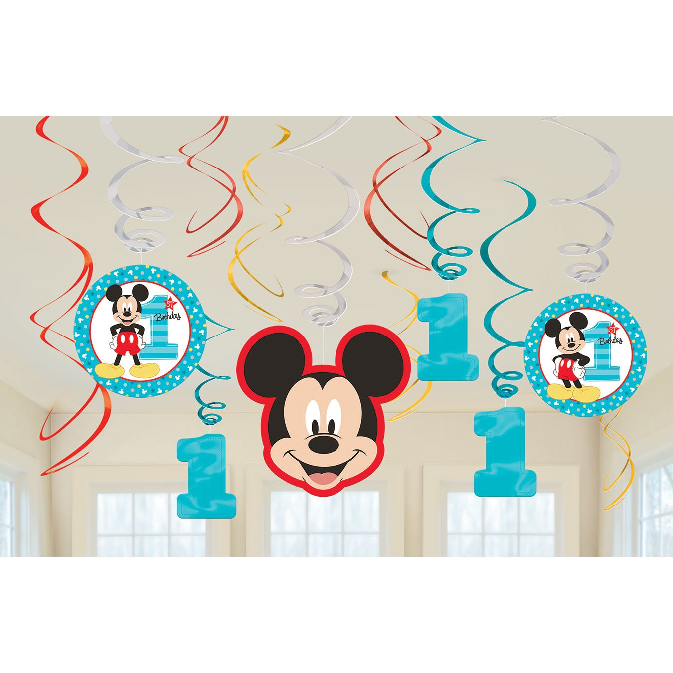 Multicolor 671833 Amscan 1st Birthday Mickey Mouse Swirl Decorations 12Count Party Supplies Mickey Fun to Be One One Size