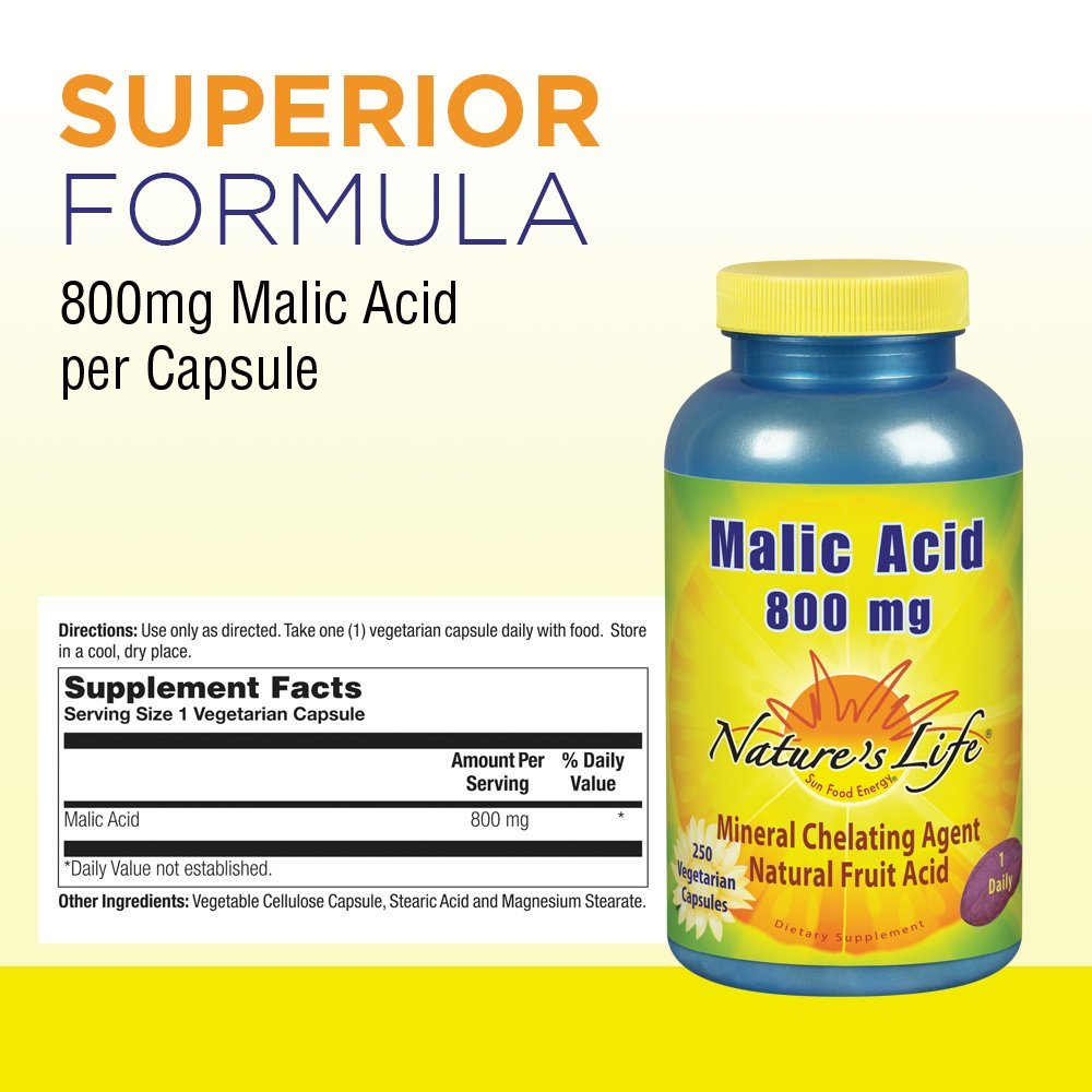 El ácido málico, 800 mg, 250 Caps Veggie - La vida de la naturaleza: Amazon.es: Salud y cuidado personal