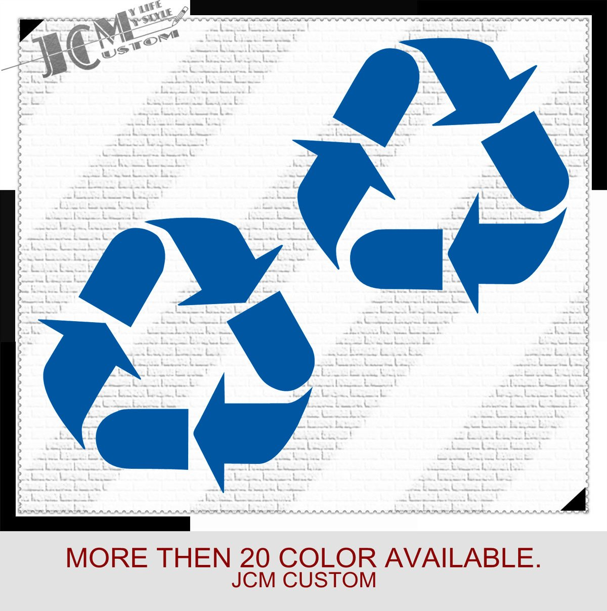 Amazon com jcm custom set of 2 recycle recycling symbol vinyl decal sticker 4 x 4 08 blue vinyl type permanent auto home kitchen