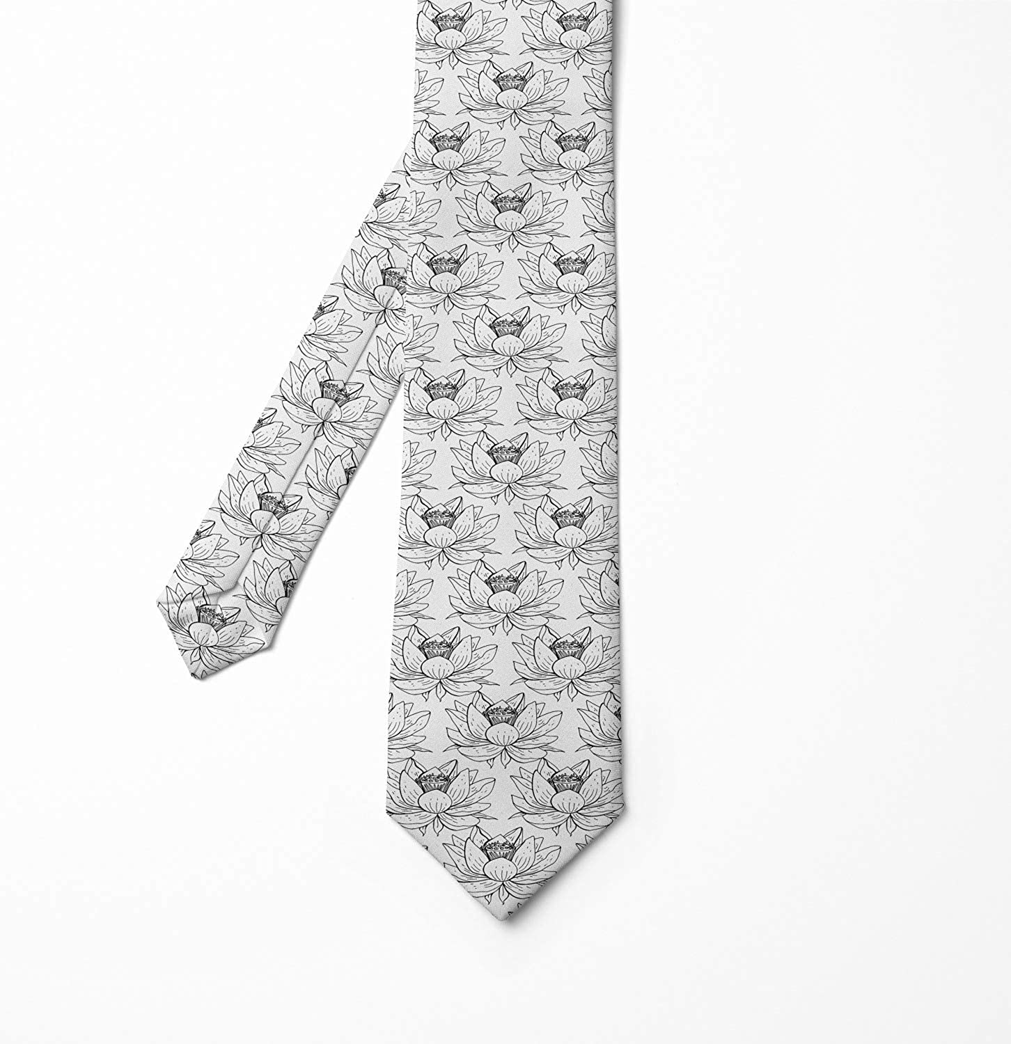 Charcoal Grey and White Ambesonne Floral Mens Tie 3.7 Outline Drawings of Hand Drawn Lotus Flowers on a Plain Background