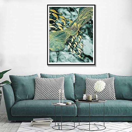 tzxdbh Pintura de Lienzo de Pescado Dorado Cartel e impresión ...