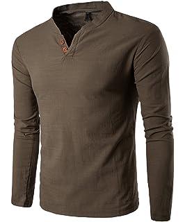 Dalisay Herren Hemden Stehkragen Langarm Leinen Retro Schlank Social  Business Bluse Mode Freizeithemden Tops S- 5584672f2d