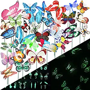 VGOODALL 50 PCS Luminous Butterfly Stakes and Luminous Dragonfly Stakes Garden Ornaments Stakes, Waterproof Butterfly Garden Decorations for Indoor,Outdoor Yard, Patio Plant Pot, Christmas Decoration