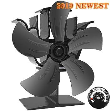 Amazon.com: KINDEN - Ventilador para estufa de leña, 5 aspas ...