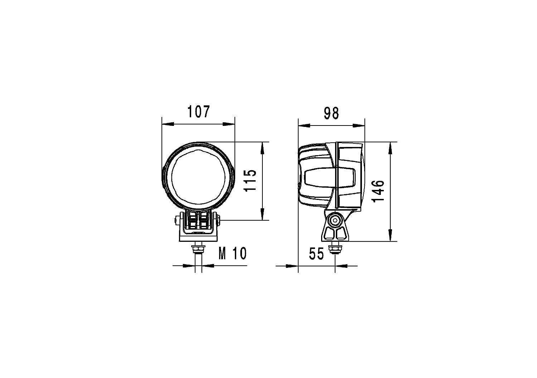 Schwenkfuss Multivolt 12V -24V mattschwarz HELLA 1G0 996 263-051 LED Arbeitsscheinwerfer f/ür stehenden Anbau