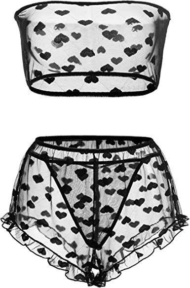 Womens Lingerie Set with Heart Print Stretchy Lace Bandeau Bra Top Underwear Suit with Shorts and Thong Size S-XXL