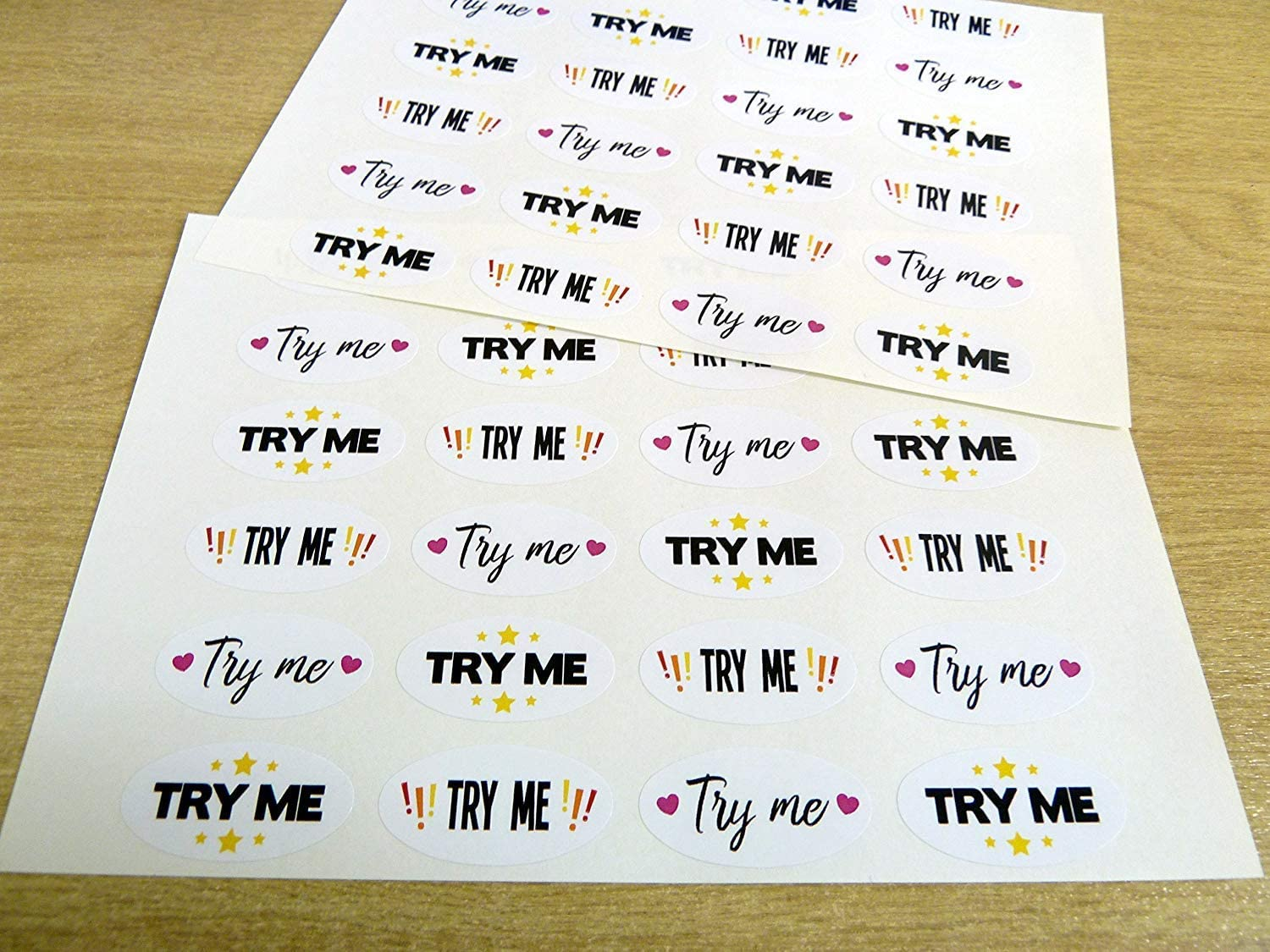 /'TRY ME/' Stickers Colourful Promotional Retail Labels for Craft Stalls Samples
