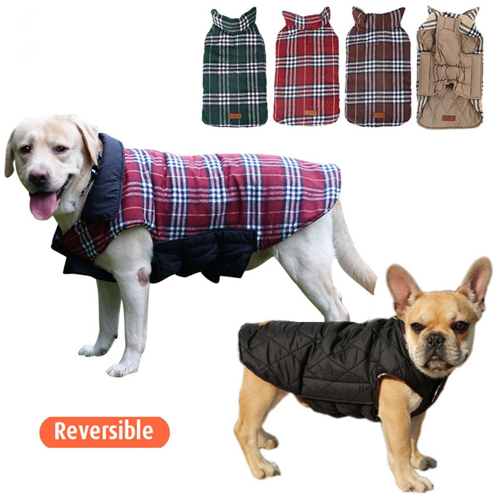 Ablingling Outdoor Waterproof Both Sides Available Pet Clothing Style Grid of England, Winter Dog Jacket Shepherd Small Large Dogs Coat (L, Beige) Yiwu Conrey E-Commerce Co. Ltd