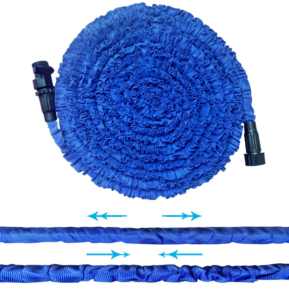 Garden Hose, 50.5FT Strongest Flexible Lightweight Expandable Double Layer Latex Retractable Collapsible Water Hose, Expands to 3 Times Length Best Pressure Washer for Car Cleaning Lawn Watering, Blue