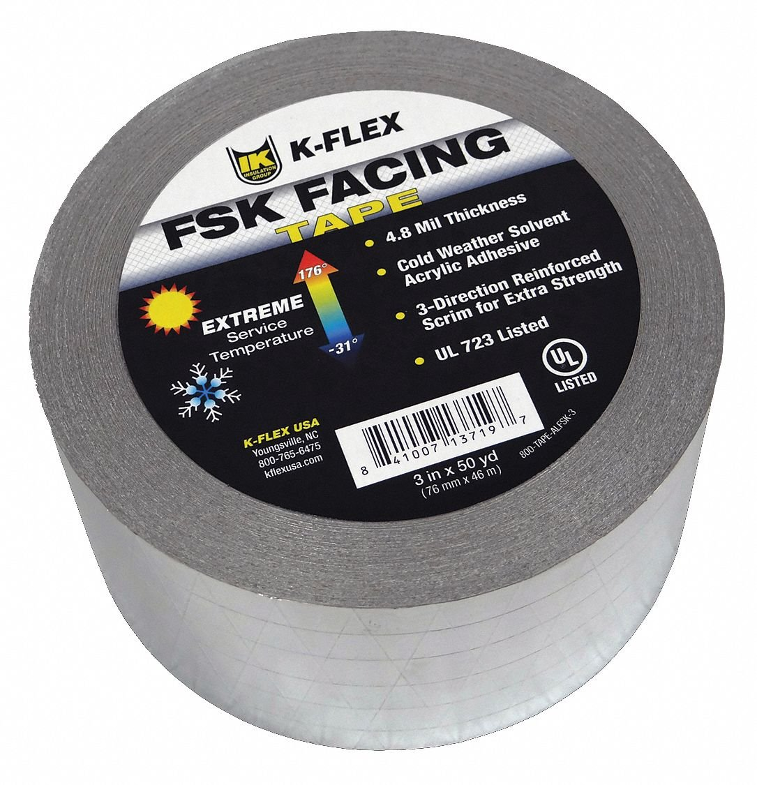 150 ft. x 3'' Aluminum Pipe Insulation Tape, -31 to 176F, Silver