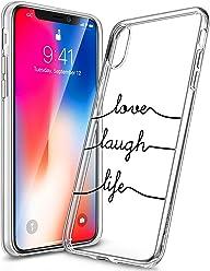 Girlscases® | iPhone XS Hülle, iPhone X / 10 Hülle | Mit coolen Spruch Aufdruck Motiv | Love-Laugh-Life | Case Transparente Schutzhülle | Farbe: schwarz |