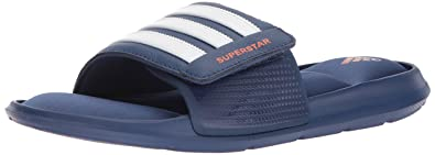 4f7c73f21a685 adidas Men s Superstar 5G Slide Sandal Noble Indigo Orange White 16 ...