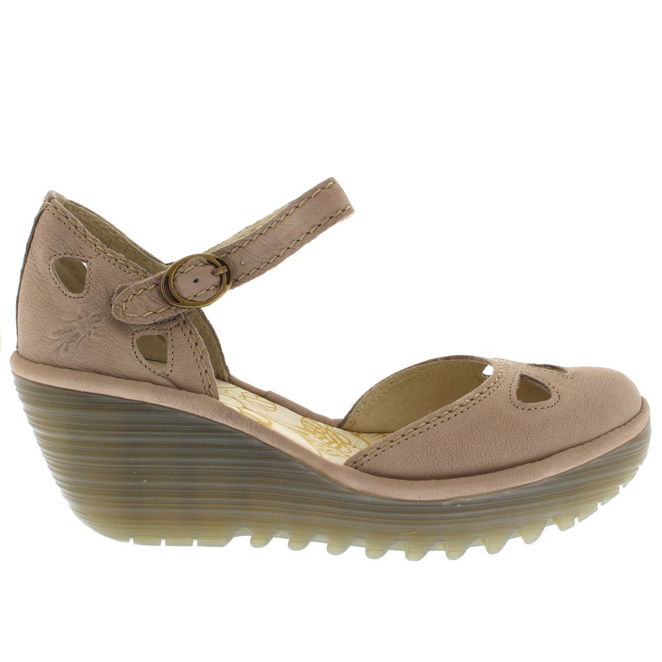 FLY London Womens Yuna Cupido Leather Sandals Summer Shoes Wedge Heel - Concrete - 6 by FLY London (Image #4)