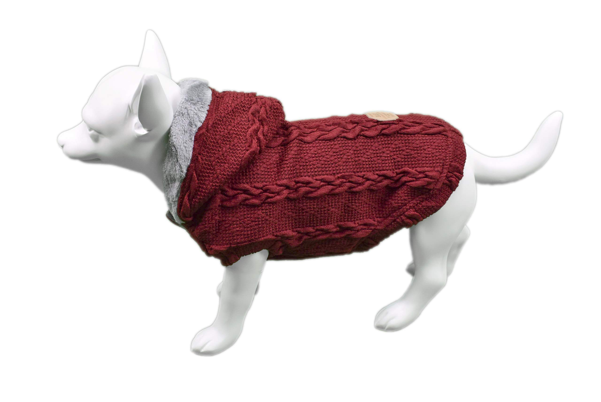 Furzy Fleece-Lined Cable Knit Sweater with Hood for Dogs (Small, Red)