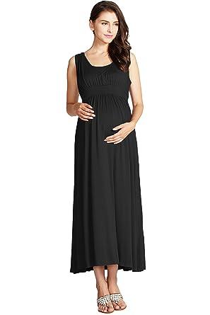 f8e4ef762a6ae Maternity Nursing Breastfeeding Summer Beach Casual Sleeveless Empire Waist  Maxi Dress, Black, M (