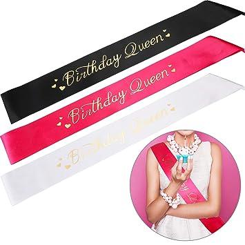 Zonon 3 Piezas Cumpleaños Queen Sash, Faja para Suministros ...