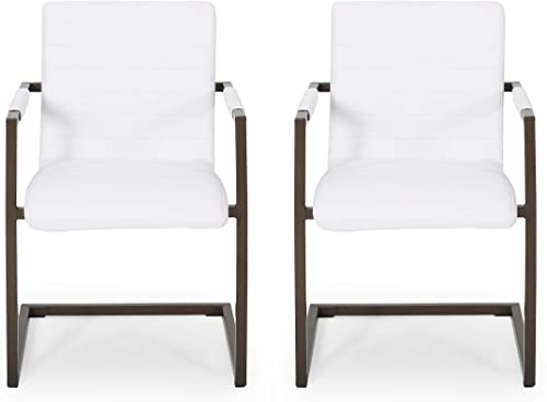 Lilith Modern Faux Leather Arm Chair Set of 2 , White and Bronze