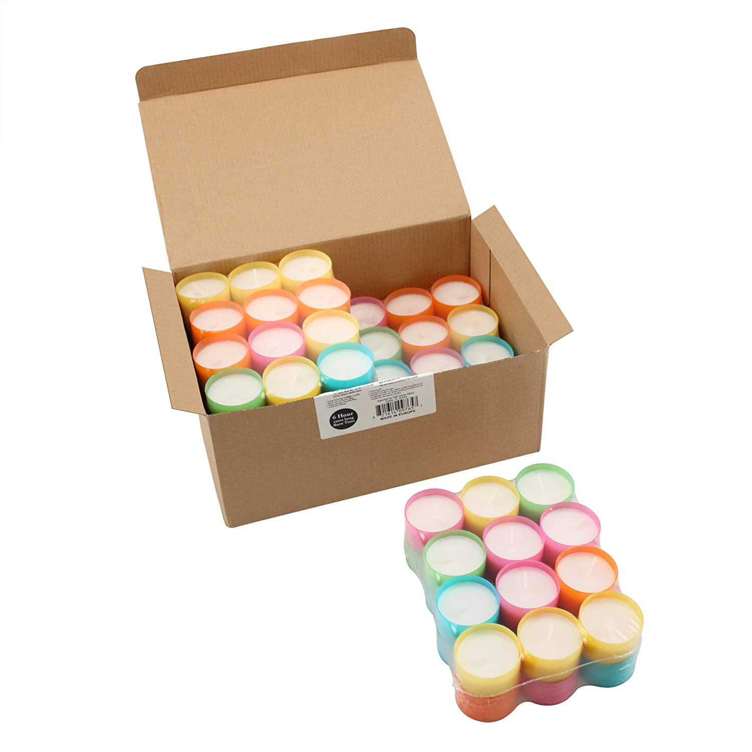 Stonebriar Multicolor Tea Light Candles, 6 to 7 Hr Extended Burn Time, 96 Pack