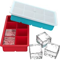 Vremi Large Silicone Ice Cube Trays - 2 Pack 8 Square Cubes per Tray Ideal for Whiskey, Cocktails, Soups, Baby Food and…