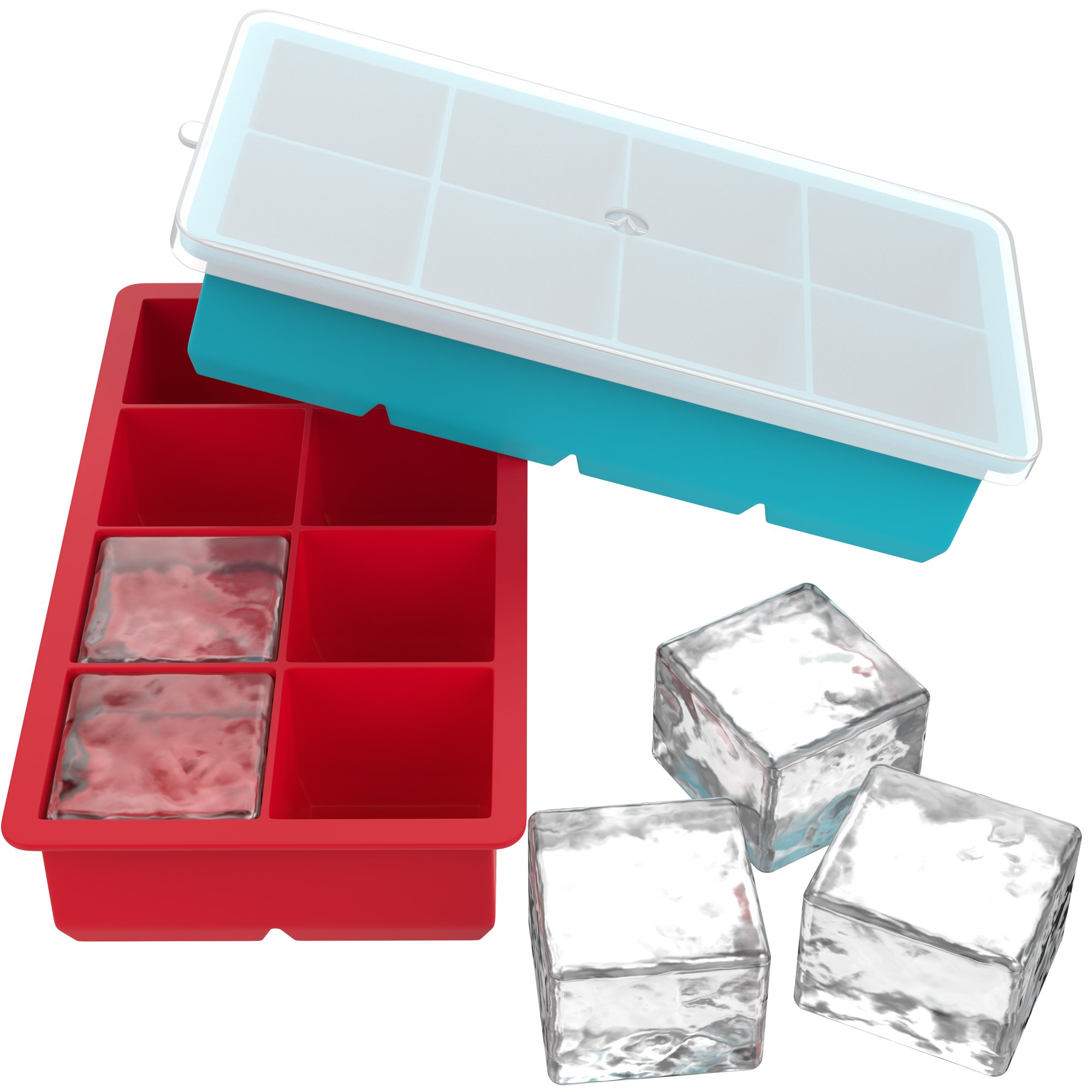 Vremi Large Silicone Ice Cube Trays - 2 Pack 8 Square Cubes per Tray Ideal for Whiskey, Cocktails, Soups, Baby Food and Frozen Treats - Flexible and BPA Free and Includes Covers for Easy Stacking by Vremi