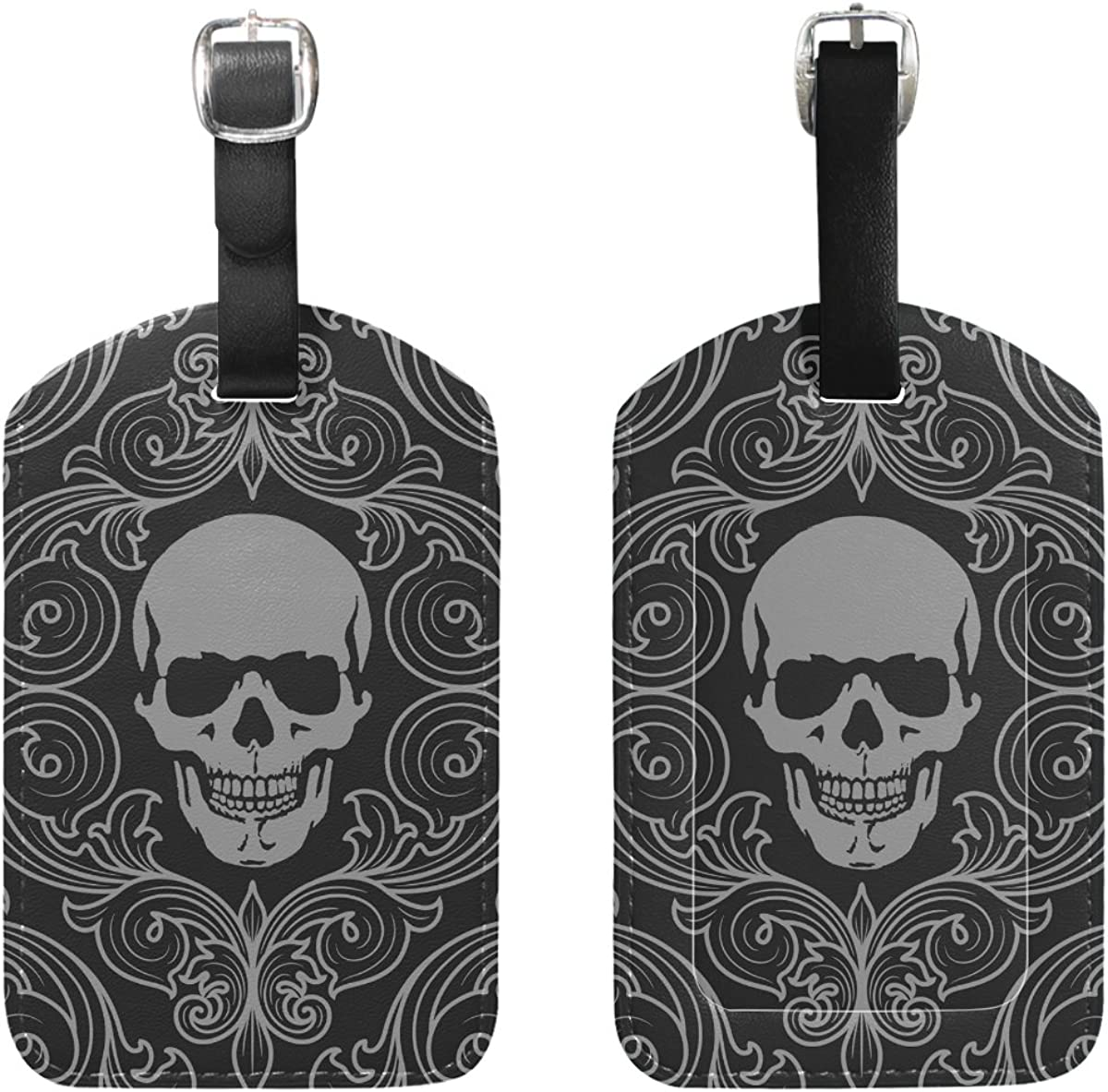 2 PCS LORVIES Skull Pattern Luggage Tags Travel Labels Tag Name Card Holder for Baggage Suitcase Bag Backpacks