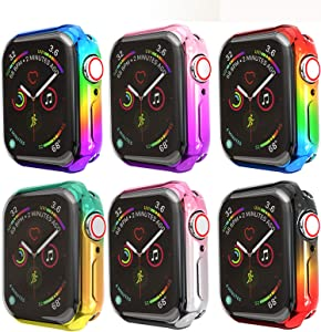 JZK Apple Watch Series 6 44mm Rainbow Color Screen Protector,iWatch Protective Case Soft Plated TPU All-Around Ultra-Thin Bumper Cover for Apple Watch Series 6/SE Series 5/4 44mm Accessories