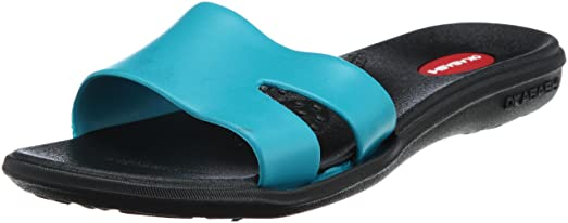 Womens Wave Slide Sandals Black Turquoise Medium-Large (USA Womens 8.5 - 9.5)