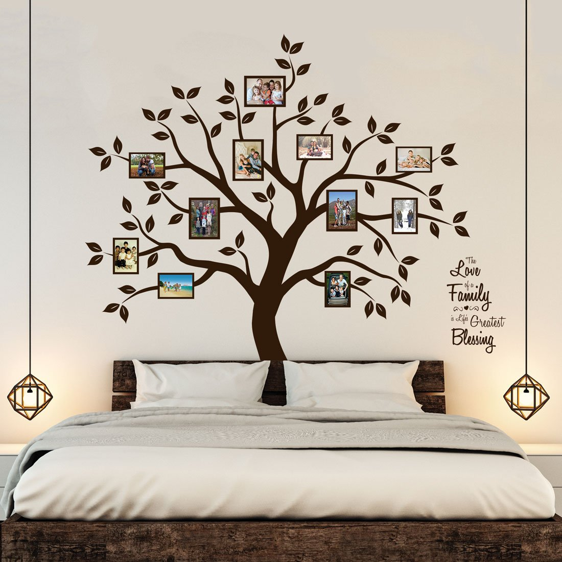 amazon com timber artbox beautiful family tree wall decal with amazon com timber artbox beautiful family tree wall decal with quote the only decor you need for living room bedroom baby