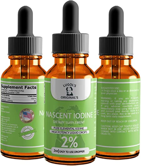 Lugols Originals Nascent Iodine Drops Regular Strength High Potency Concentrated Thyroid Supplement 2% 2oz 1 pk