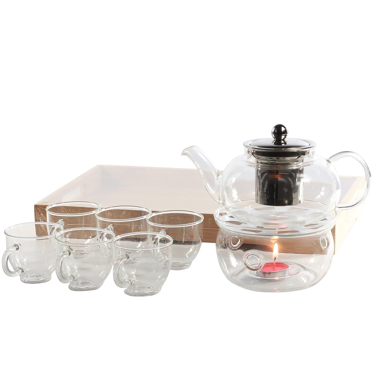 Clear Glass Tea Set with Teapot Warmer - 1 Glass Teapot + 1 Wooden Tray + 6 Glasses + Tea Pot Warmer GOLDBEARUK