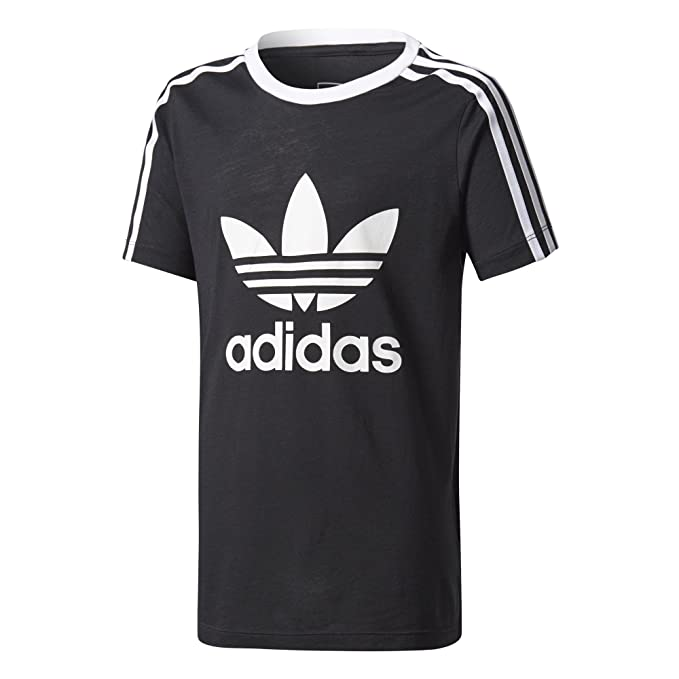 27a20dd3 adidas Originals Girl's 3-Stripes Trefoil Tee Black/White