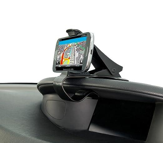 Lescars Kfz Klemmhalterung: Universelle Smartphone-Clip-Halterung fürs Armaturenbrett, bis 9 cm (Navigationshalterung)