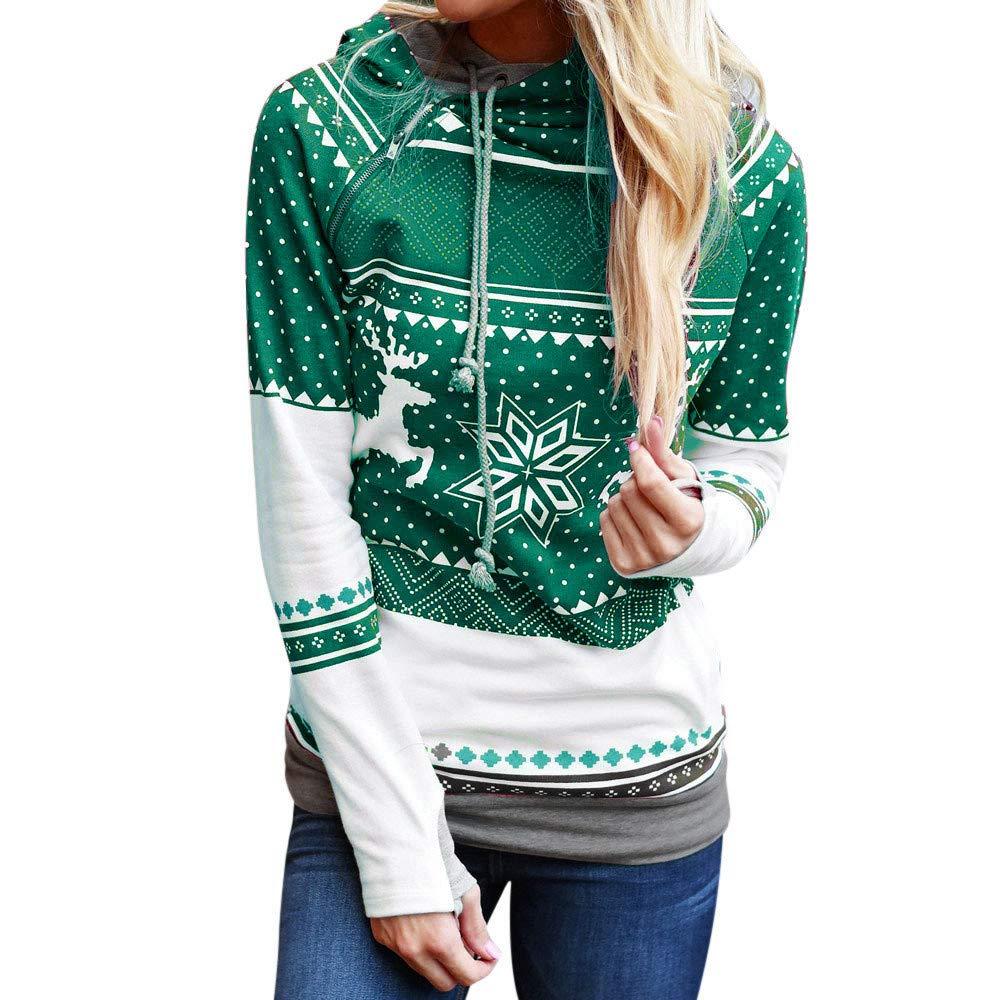 rocicaS Women's Hoodie Christmas Hoodie Long Sleeve Fashion Patchwork Print Tunic Top Sweatshirt Jumper Pullover Blouses Tops