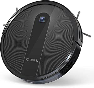 Coredy R600 Robot Vacuum Cleaner, Boost Intellect, Washable High Efficiency Filter, 1600Pa Max Power Suction, Ultra Slim, Quiet, Smart Self-Recharge Robotic Vacuum, Cleans Hard Floors to Carpets