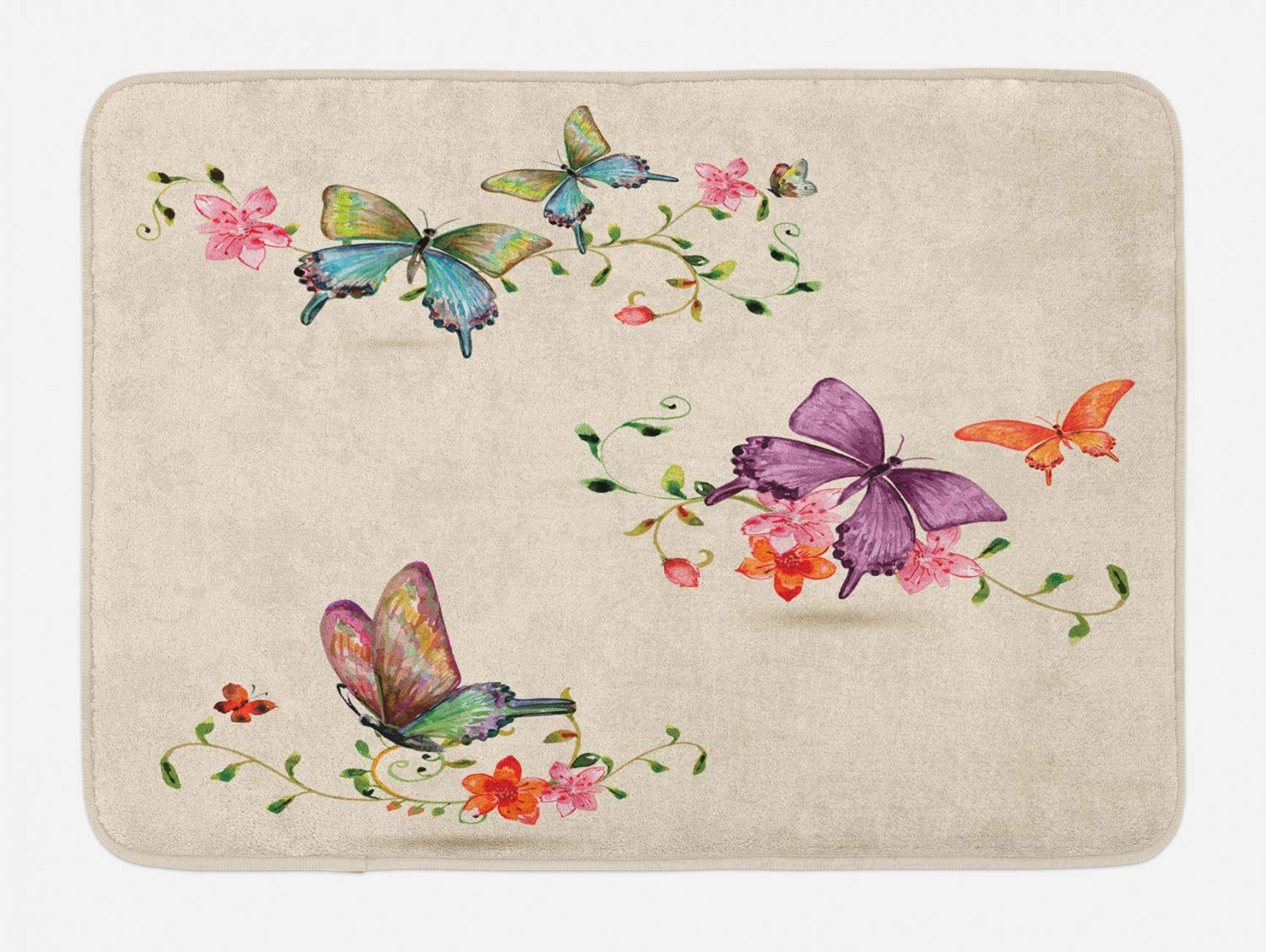 Ambesonne Butterfly Bath Mat, Butterfly Pattern on Vintage Style Background Wings Moth Transformation, Plush Bathroom Decor Mat with Non Slip Backing, 29.5