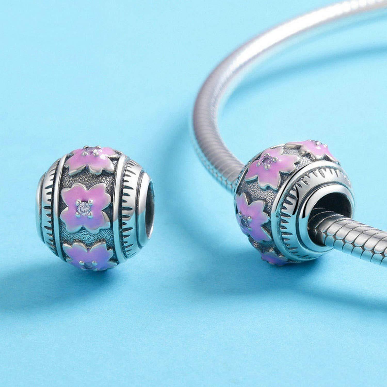 Evereena Silver Beads Bracelet for Girls Sweet Pink Flowers Elegant Charm Womens Jewelry
