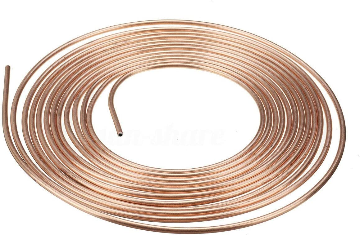 Xigeapg 2 Pack 25Ft Copper Nickel Brake Line Tubing Kit 3//16 Inch OD 30Pcs Fitting Nuts