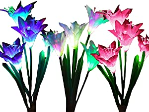 Dolucky Outdoor Solar Lights, 3 Pack Solar Powered Flower Lights with 12 Lily Flower, Multi-Color Changing LED Solar Garden Stake Lights Landscape Decorative Lights for Patio Backyard