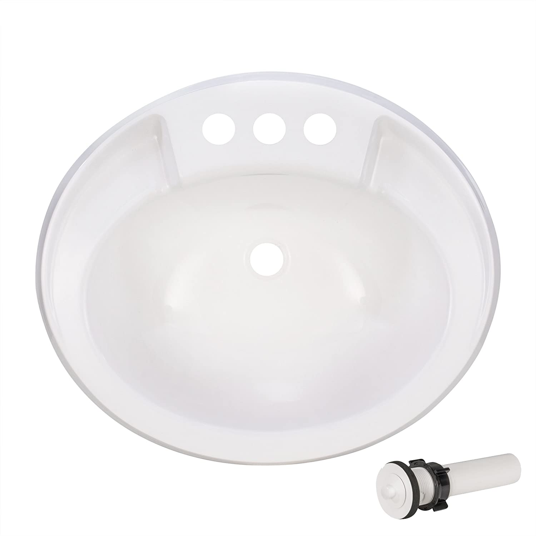 Amazon Com Recpro Oval Rv Bathroom Sink W Drain Stopper White
