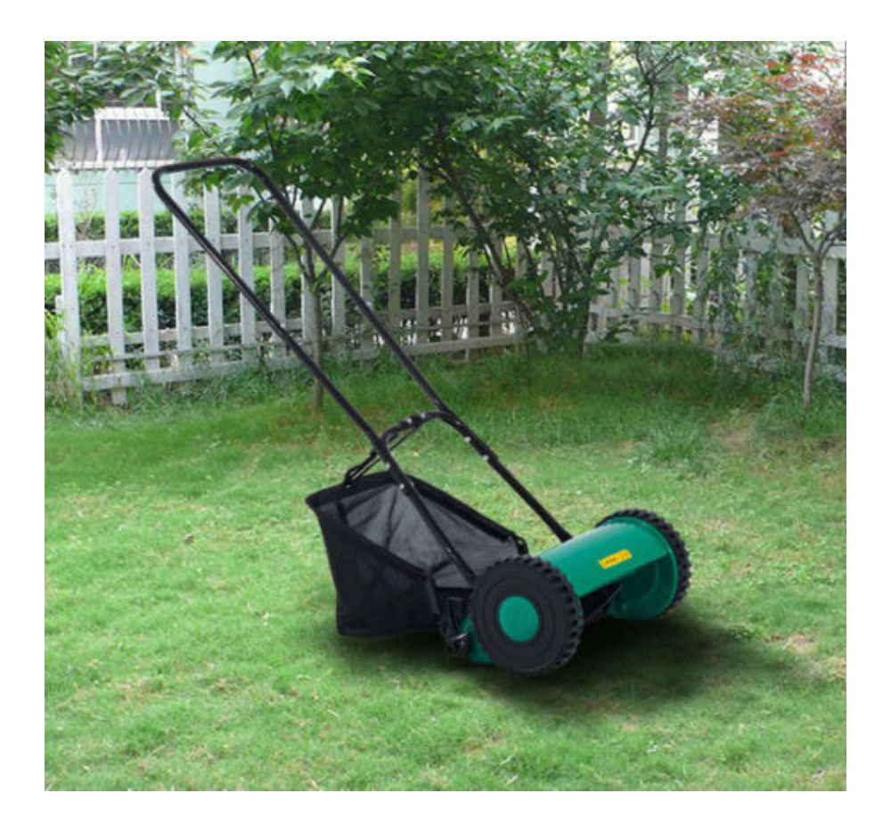 Hand Push Lawn Adjustable Reel Mower w/Grass Catcher 5-Blade Classic