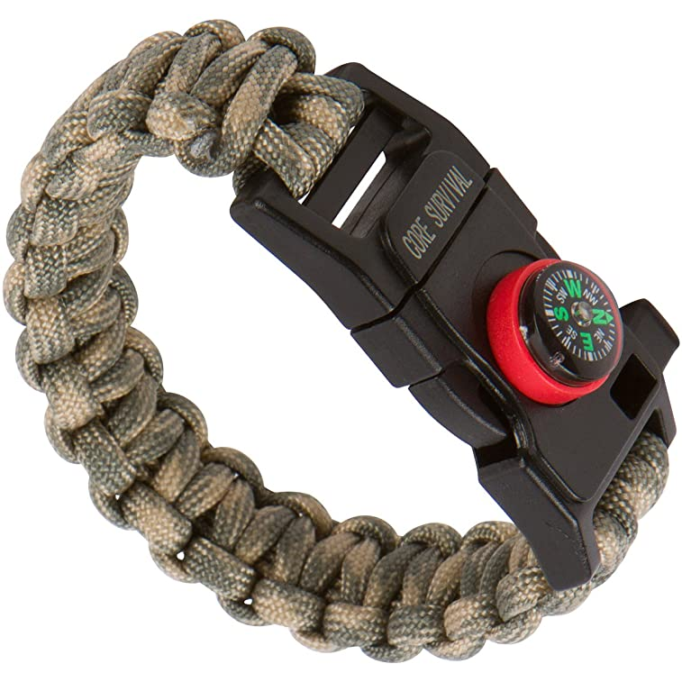Core Survival Paracord Survival Bracelet - Hiking Multi Tool, Emergency Whistle, Compass for Hiking, Camp Fire Starter 5-in1 Set