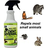 Rodent Defense Small Animal Repellent-All Natural Deterrent 32oz Spray for squirrels, rabbits, rats, gopher, raccoon and more!…