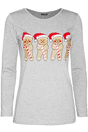 361d50b4db5 Be Jealous Womens Ladies Long Sleeve Xmas Gingerbread Hat Candy Christmas  Stretchy T Shirt  Amazon.co.uk  Clothing
