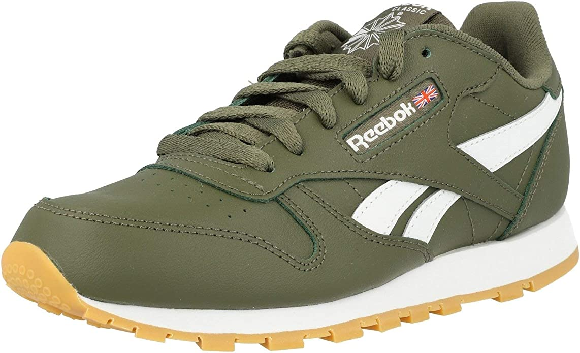 compromiso Paternal Hundimiento  Amazon.com | Reebok Classic Leather Army Green/White Leather Junior  Trainers Shoes | Sneakers